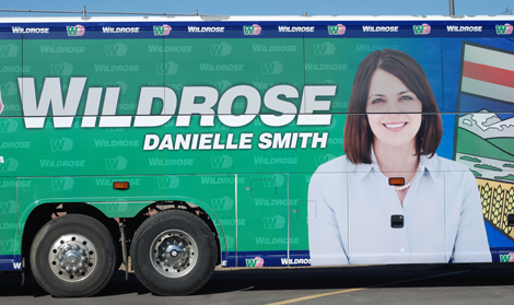 After the Wildrose party's bosom bus gaffe, the tour bus got a quick makeover, pictured. Zoey Duncan photo.