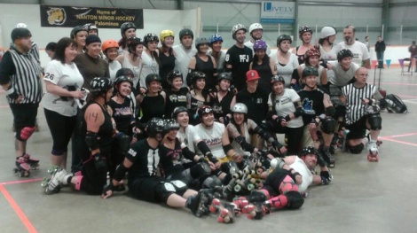 Both teams got cosy after the bout. I'm the sweaty one in the black. With the helmet.