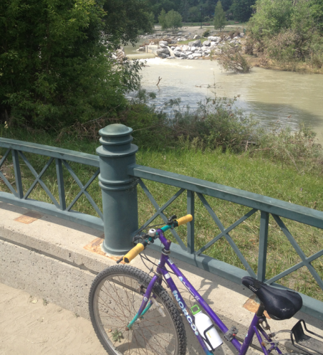 Me and my bike are happy staying away from the turbid Bow River.