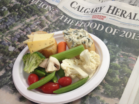 Fruit, vegetables, spinach dip and so much cheese, delivered to us courtesy of the Ottawa Citizen.