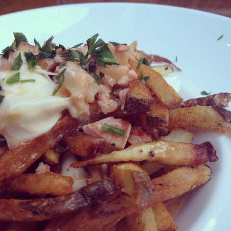 It's lobster poutine and yes I ate the pool of butter at the bottom.