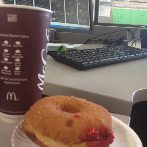 The doughnut wasn't a good choice. The coffee absolutely was. Together, they were bearable.