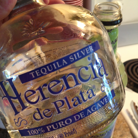 Got the good stuff because desperate times call for drinkable tequila.