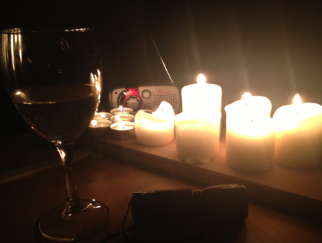 Candles. Check. Wind-up radio. Check. Wine. Oh, check.