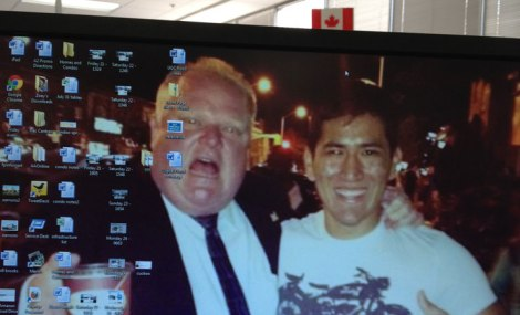 Not included in the article: make yourself laugh with a wince-inducing desktop background at work, such as this Instagram image of Toronto Mayor Rob Ford late one summer night, as displayed on my Calgary Herald workstation until I couldn't stand it anymore.