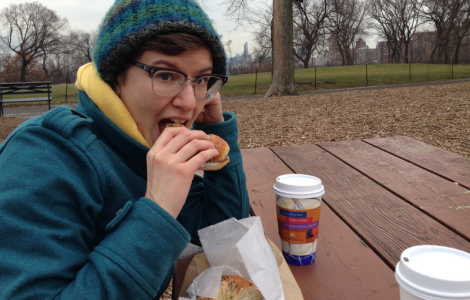 The writer enjoys a smoked salmon everything bagel in Central Park on a cool winter's day.