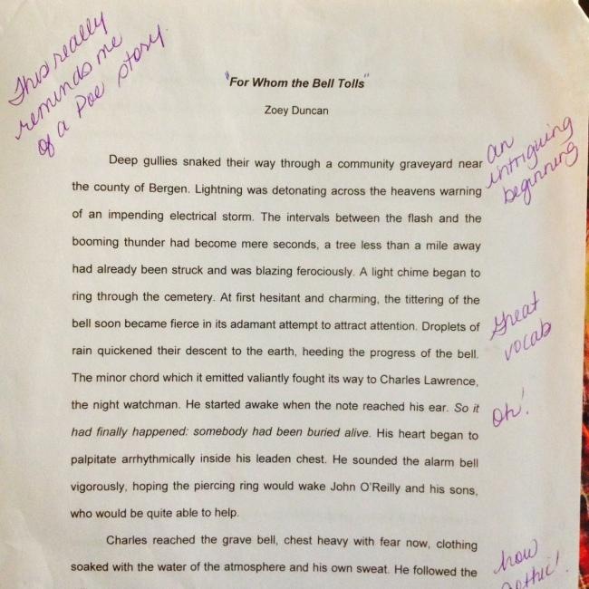 An English class short story assignment