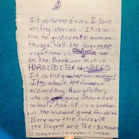 A journal entry from Zoey, age 11