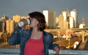 Zoey drinking coffee in Sunalta