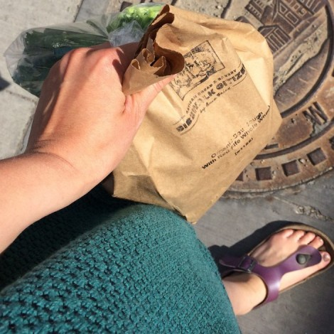 Aforementioned kale (soft as a kitten) and a loaf of Sidewalk Citizen Sourdough.