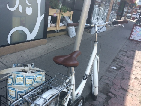 Bike packed up with cheese, crackers, juice and more cheese after a recent trip to the shops.