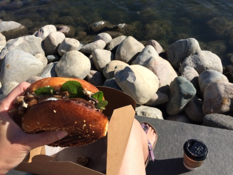 Breakfast from Sidewalk Citizen on the banks of the Bow River