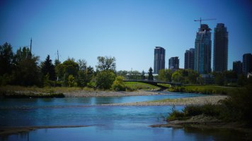 The view towards Victoria Park in downtown Calgary from St. Patrick's Island.