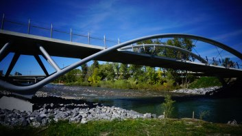 Under the St. Patrick's Island bridge. Its design, inspired by a skipping stone.